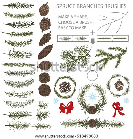 Spruce green branches,pine,cones brushes,wreath,line borders.Christmas tree decor elements for invitations,print and web,card,banner.New year holiday,nature illustration,Winter template.Illustration