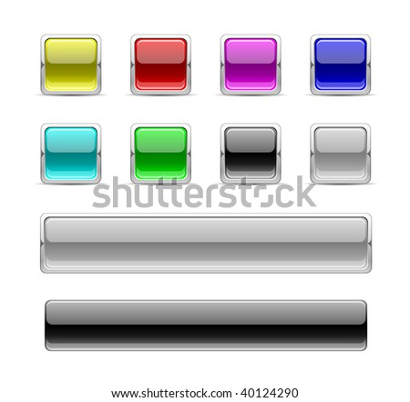 square glossy buttons in color