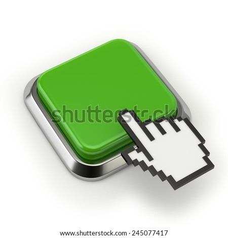 Square green button with cursor on white background