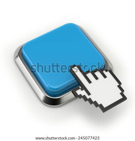 Square light blue button with cursor on white background