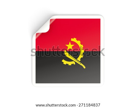 Square sticker with flag of angola isolated on white