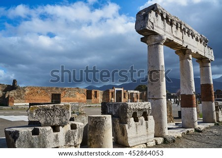 Square with Columns in Pompeii, ancient Roman city in Italy died from eruption of Mount Vesuvius