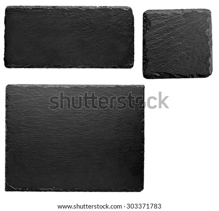 Squared and rectangular black stone slate board isolated on white background