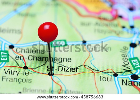 St-Dizier pinned on a map of France