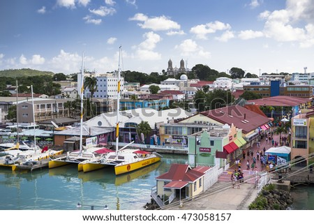 St. John's, Antigua and Barbuda - January 08, 2016: The port of St. John's. It is the commercial center of the nation and the chief port of the island of Antigua