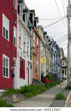 St. Johns, Newfoundland Canada. 6 June 2016.  View of colourful houses in St. Johns, Canada.