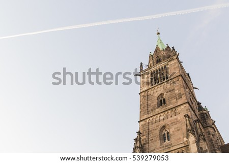St. Lorenz in Nuremberg with the sky, Bavaria, Germany