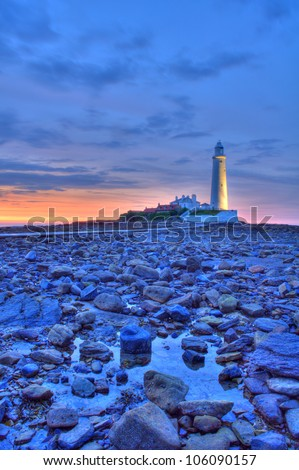 St Marys Lighthouse at sunset in HDR