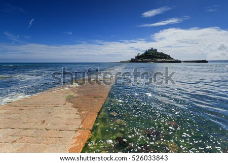 st michaels mount with causeway , Marazion in Cornwall UK.