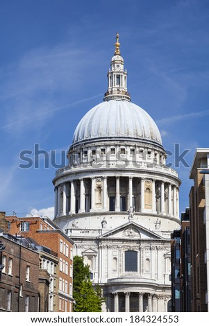 St. Paul's Cathedral in London with blue sky