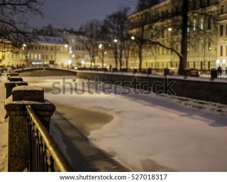 St. Petersburg in winter, frozen Griboyedov Canal