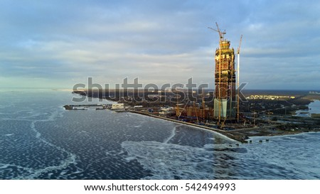 ST. PETERSBURG, RUSSIA - DEC 25, 2016.Aerial view: Construction of a largest in Europe high-altitude building. Lakhta Center, mixed-use non-residential construction project in Saint Petersburg, Russia