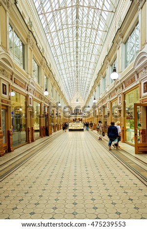 ST PETERSBURG, RUSSIA - JULY 30: The Passage, a luxuryshopping arcade famous for its architecture, on July 30, 2016 in St Petersburg, Russia