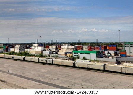ST-PETERSBURG, RUSSIA - JUNE 13: Container Transportation in Russia, container terminal with ship containers, June 13, 2013.