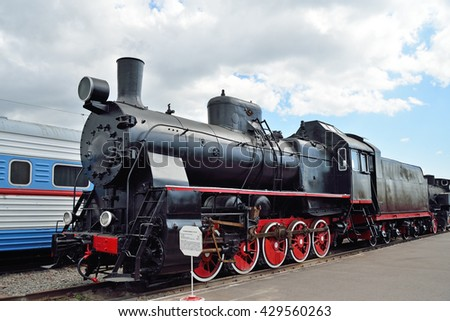 ST.PETERSBURG, RUSSIA - MAY 11, 2016:   Freight locomotive er-750-04 in the railway Museum in Saint-Petersburg
