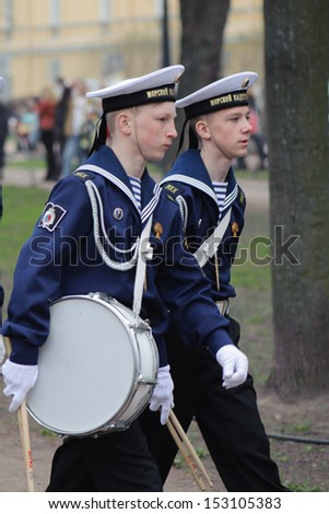 ST.PETERSBURG, RUSSIA  - MAY 9, 2013: Military chorus of boys on the 68-th anniversary of the victory in the World War II on May 9, 2013, St.Petersburg, Russia