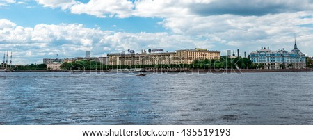 St.Petersburg, Russia - May 17, 2016: passenger boat floating by Neva river. View to Petrovskaya embankment.