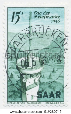ST. PETERSBURG, RUSSIA - NOV 8, 2016: A postmark printed in SAAR, shows Radio Tower in Saarbrucken, circa 1956