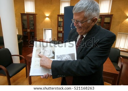 St. Petersburg, Russia - October 02, 2007: Ehud Netzer - famous israeli architect, educator and archaeologist tells about the discovery of the tomb of Herod.