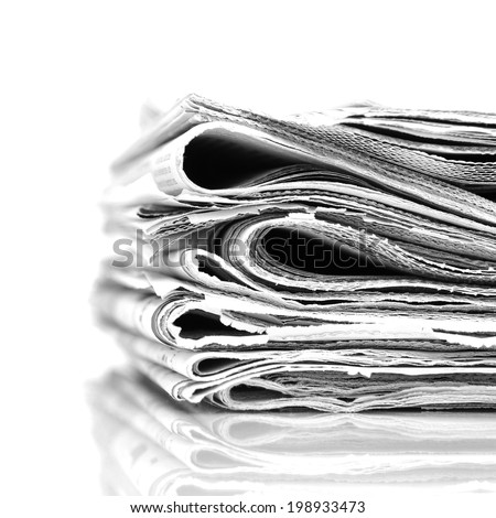 Stack newspapers - black and white image