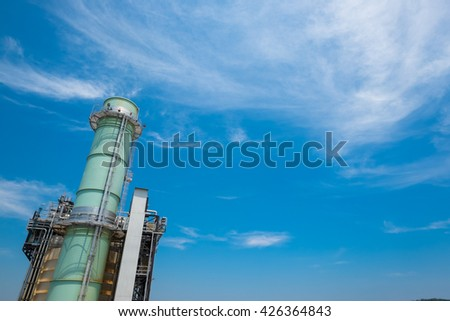 Stack of boiler in fuel gas power plant with clear sky