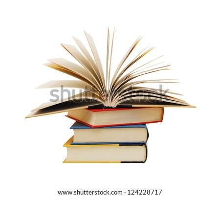 Stack of books isolated on the white or back to school