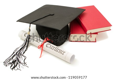 Stack of books with cap and diploma on white background