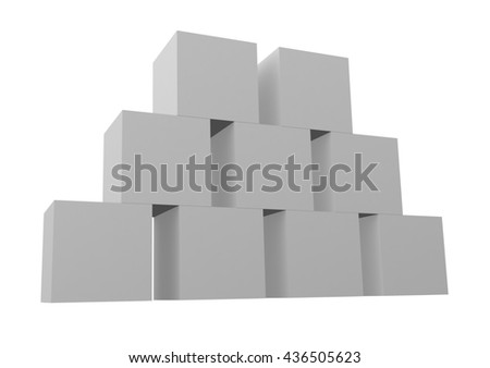 Stack of boxes isolated on white background. 3d render