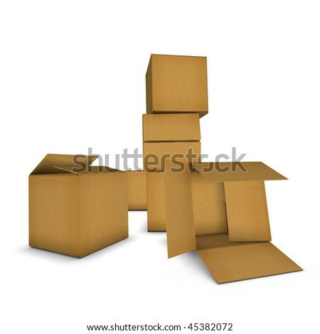 stack of brown cardboard boxes isolated on white. High resolution image