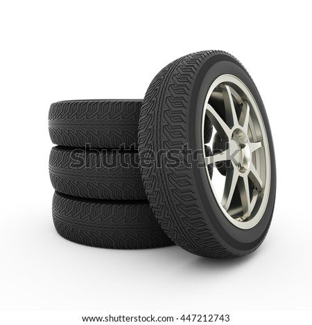 Stack of car wheels. 3d render on white background
