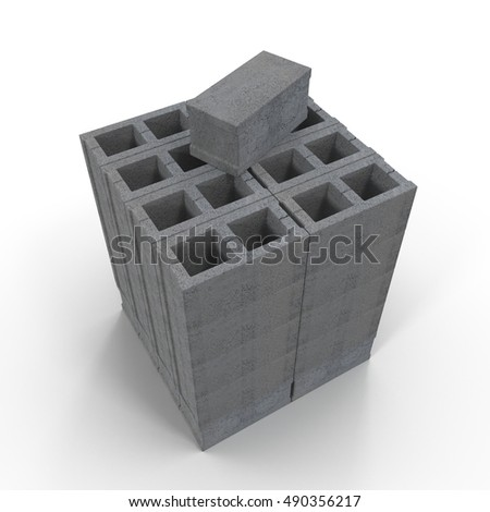 Stack of Cinder Block Bricks isolated on white. 3D illustration
