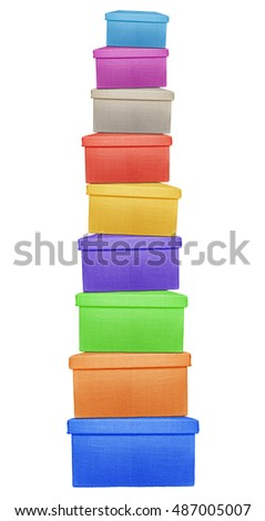 Stack of colorful boxes wrapped by burlap canvas isolated on a white background