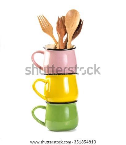 Stack of colorful  soup Cups isolated on the white background