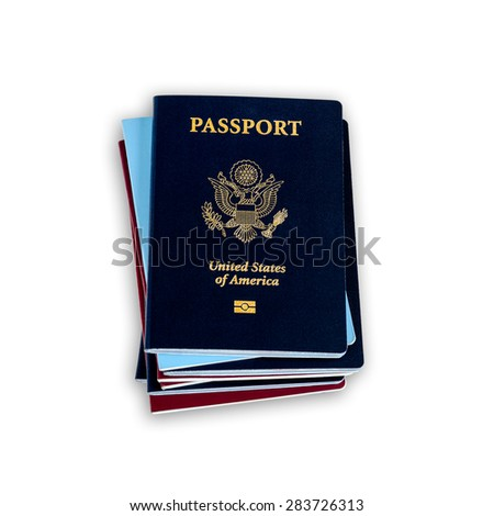 Stack of different color passports with dark blue US passports on the top
