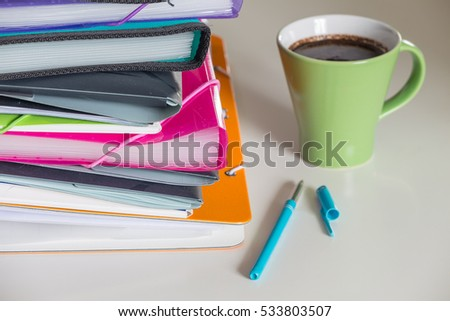 Stack of documents the concept of office