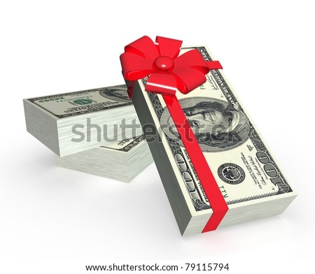 Stack of dollars with red bow isolated on white