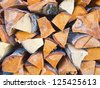 Stack of dried firewood of aspen wood - stock photo