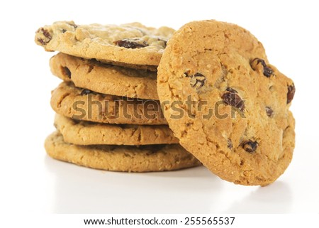 stack of oatmeal raising cookies slightly elevated