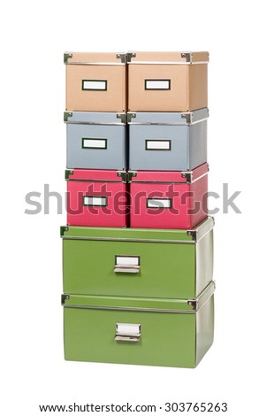 stack of office cardboard boxes isolated on white background