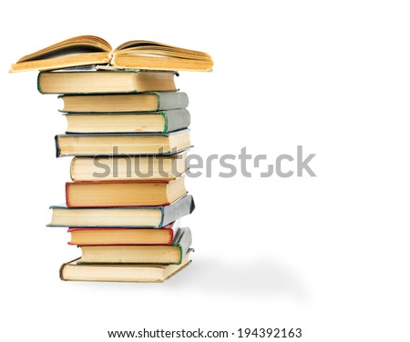 stack of Old books isolated on white