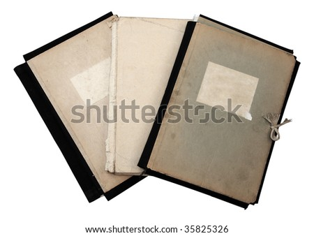 stack of old folders isolated on white background with clipping path