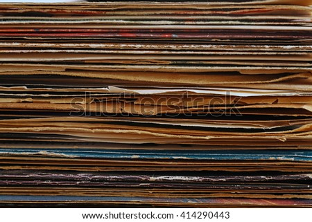 Stack of old vinyl records, background