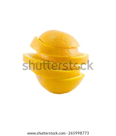 Stack of orange slices isolate on white