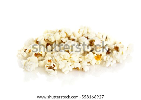 Stack of popcorn on white background