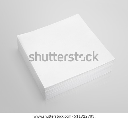 Stack of stick note (white paper) isolated on gray background