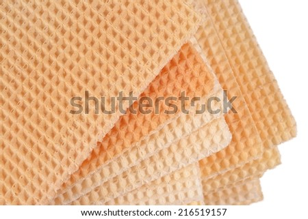 Stack of sweet waffles on a white background