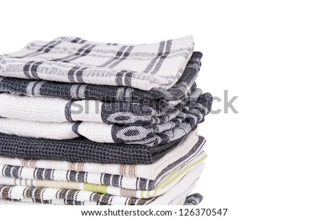 Stack of tea towels isolated on white
