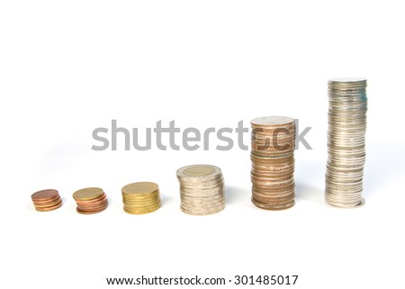 Stack of Thai Bath coins on white background