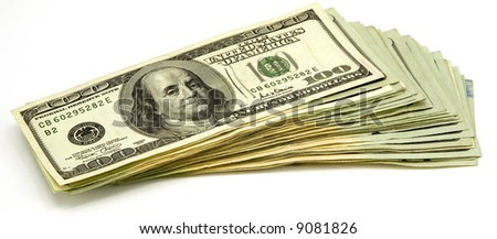 Stack of US Hundred Dollar Bills Isolated on White Background.