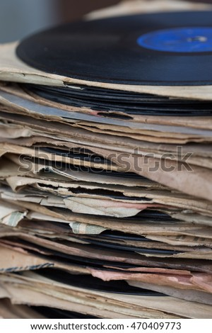 stack of vintage gramophone records